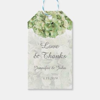 Étiquettes-cadeau Hortensias verts à la mode épousant l'étiquette de