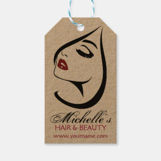 Étiquettes-cadeau Icône de maquillage de cils de lèvres rouges de
