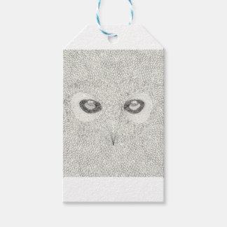 Étiquettes-cadeau Illustration détaillée de hibou en noir et blanc