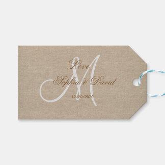 Étiquettes-cadeau Initiale rustique de monogramme de mariage de