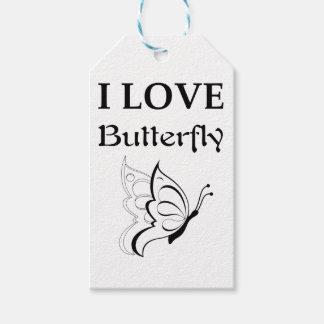 Étiquettes-cadeau J'aime le papillon