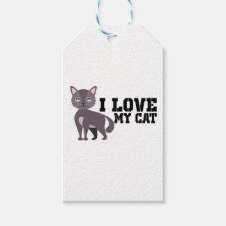 Étiquettes-cadeau J'aime mon chat