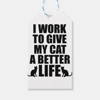Étiquettes-cadeau je travaille pour donner à mon chat un meilleur