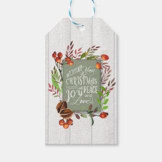 Étiquettes-cadeau Joie, paix, guirlande ID437 de tableau d'amour