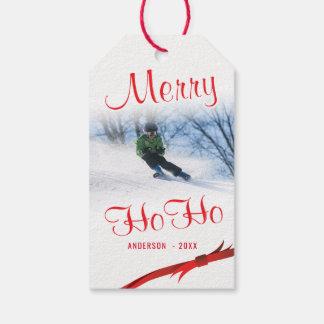 Étiquettes-cadeau Joyeux Ho Ho modèle photo stylisé de Milou