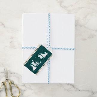 Étiquettes-cadeau Joyeux Noël vintage avec l'arrière - plan bleu