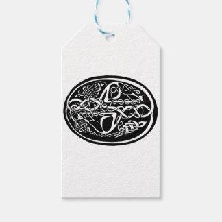 Étiquettes-cadeau Kangourou celtique de noeud noir et blanc