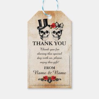 Étiquettes-cadeau La faveur rustique de crânes d'étiquette de Merci
