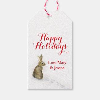 Étiquettes-cadeau Lapin de Noël dans l'étiquette de cadeau de neige