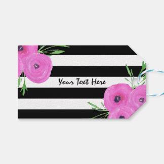 Étiquettes-cadeau Le blanc noir barre le Ranunculus rose floral
