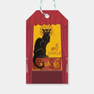 Étiquettes-cadeau Le Chat D'Amour avec la frontière théâtrale de
