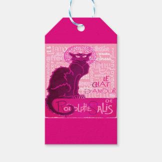 Étiquettes-cadeau Le Chat D'Amour dans le rose avec des mots de