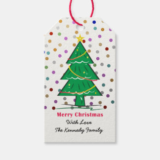 Étiquettes-cadeau Les confettis d'arbre de Noël pointillent des