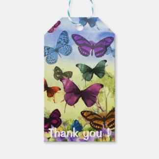 Étiquettes-cadeau Les papillons colorés d'aquarelle vous remercient