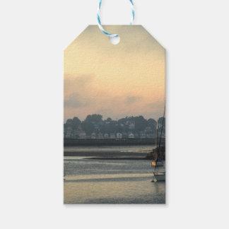 Étiquettes-cadeau Lever de soleil et bateaux