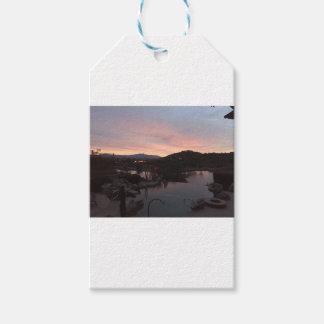 Étiquettes-cadeau Lever de soleil latéral de piscine