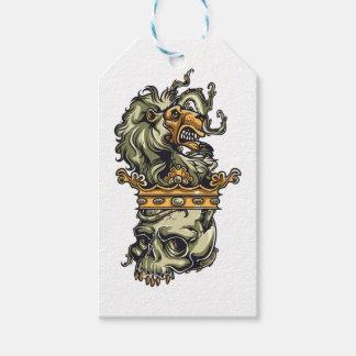 Étiquettes-cadeau lion vintage sur le crâne mort