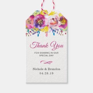 Étiquettes-cadeau L'or fuchsia fleurit le cadeau de Merci de mariage