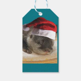 Étiquettes-cadeau Loutre somnolente de Noël