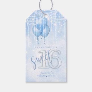 Étiquettes-cadeau Lt Blue ID473 du bonbon 16 à lumières et à ballons