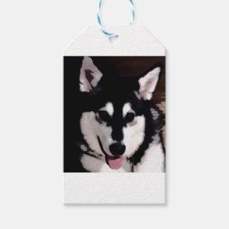 Étiquettes-cadeau Malamute d'Alaska de sourire noir et blanc