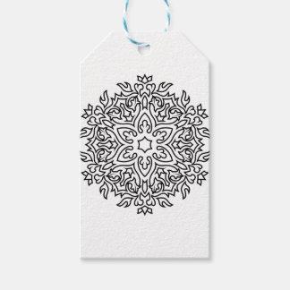 Étiquettes-cadeau Mandala de concepteurs noir et blanc