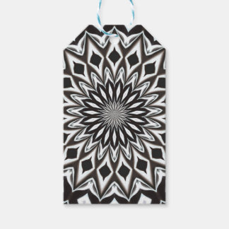 Étiquettes-cadeau Mandala décoratif noir et blanc