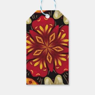 Étiquettes-cadeau Mandala tropical de fleurs et de papillons