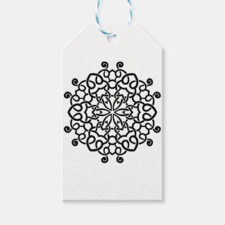 Étiquettes-cadeau Mandala vintage de concepteurs : blanc noir