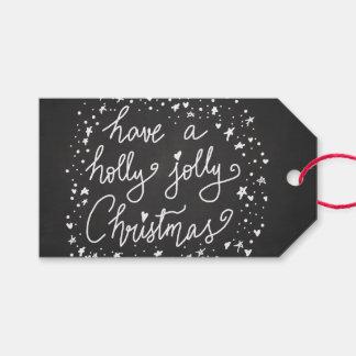 Étiquettes-cadeau Manuscrit gai de Noël de houx rustique de tableau