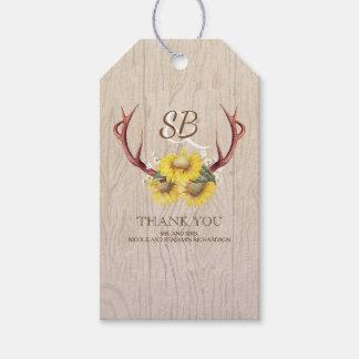 Étiquettes-cadeau Mariage campagnard rustique d'andouillers de cerfs