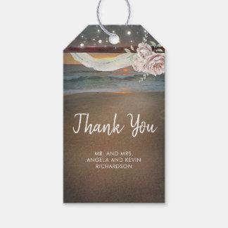 Étiquettes-cadeau Mariage de coucher du soleil de plage