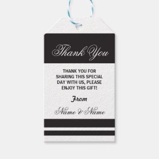 Étiquettes-cadeau Mariage élégant blanc de noir de rayure