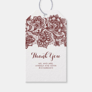 Étiquettes-cadeau Mariage élégant de dentelle de Bourgogne