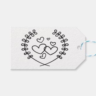 Étiquettes-cadeau Mariage floral de coeurs noirs et blancs de Merci