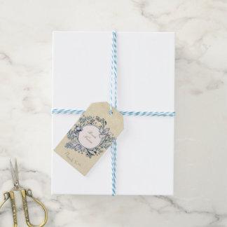 Étiquettes-cadeau Mariage floral de fleur vintage rustique