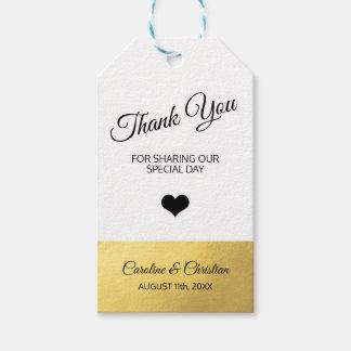 Étiquettes-cadeau Mariage noir blanc de coeur de jour spécial de