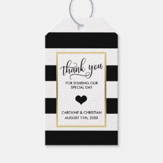 Étiquettes-cadeau Mariage noir de coeur d'or blanc de rayures de