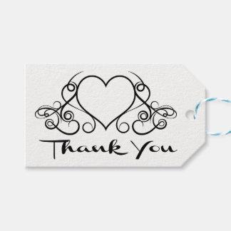Étiquettes-cadeau Mariage noir et blanc de coeur de Merci