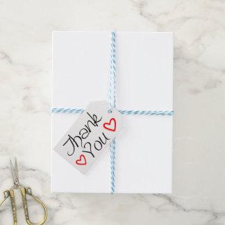 Étiquettes-cadeau Mariage noir et blanc de Merci rouge de coeurs