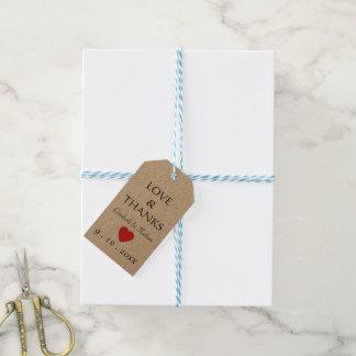Étiquettes-cadeau Mariage noir et rouge de Merci rustique de coeur