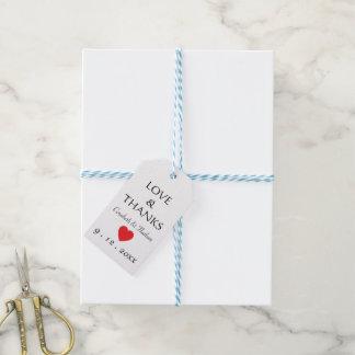 Étiquettes-cadeau Mariage rouge de coeur de Merci noir et blanc