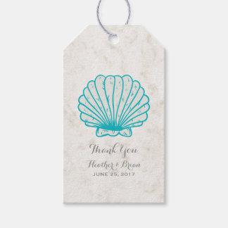 Étiquettes-cadeau Mariage rustique de coquillage de turquoise