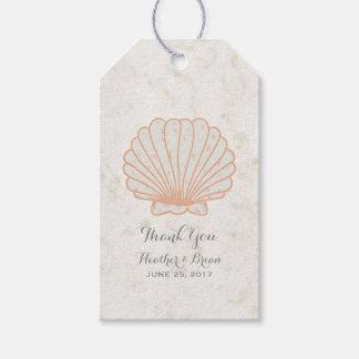 Étiquettes-cadeau Mariage rustique orange de coquillage