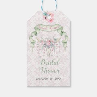 Étiquettes-cadeau Menthe florale tribale de rose de flèches de