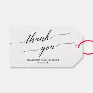 Étiquettes-cadeau Merci blanc et noir élégant de calligraphie