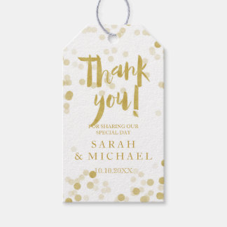 Étiquettes-cadeau Merci de confettis de feuille d'or de Faux