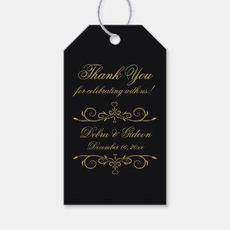 Étiquettes-cadeau Merci de monogramme de coeurs de noir élégant et