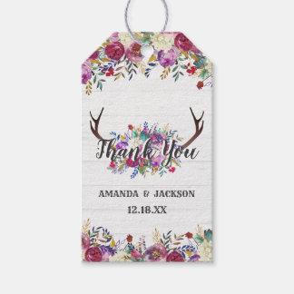 Étiquettes-cadeau Merci floral de mariage de bouquet d'Antler de
