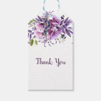 Étiquettes-cadeau Merci floral pourpre | de lavande violette